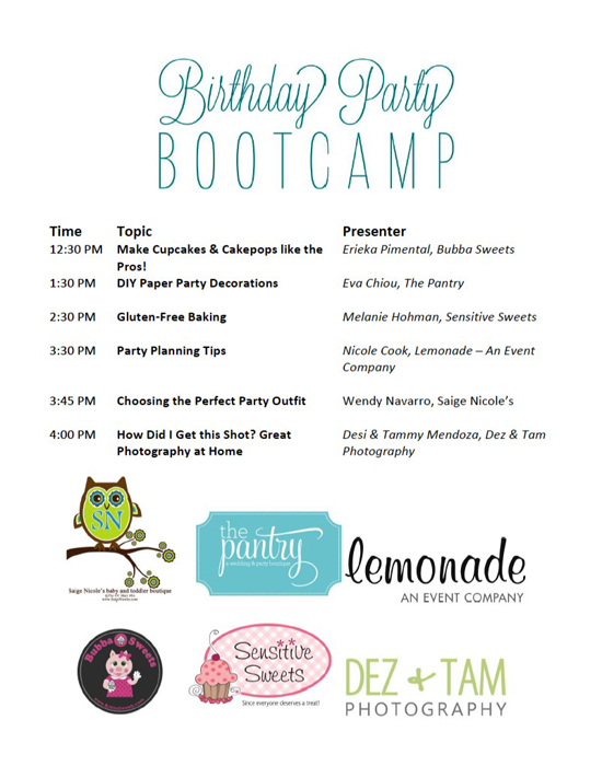 Birthday Party Boot Camp workshop schedule