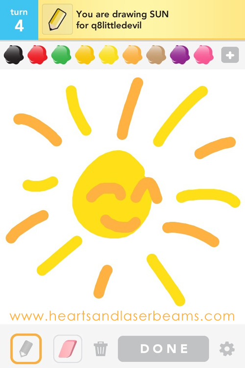 draw something sun by hearts and laserbeams