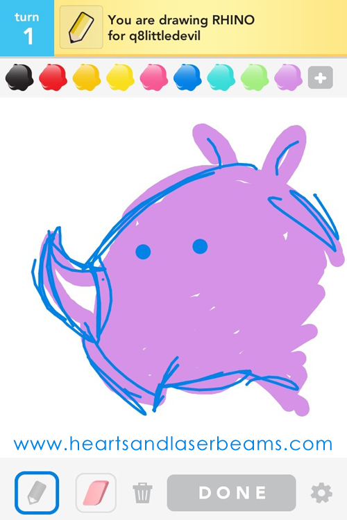 draw something rhino by hearts and laserbeams