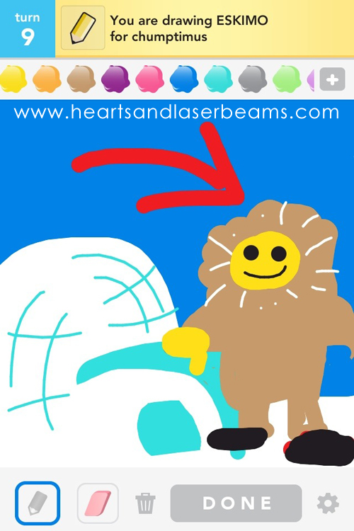 draw something eskimo by hearts and laserbeams