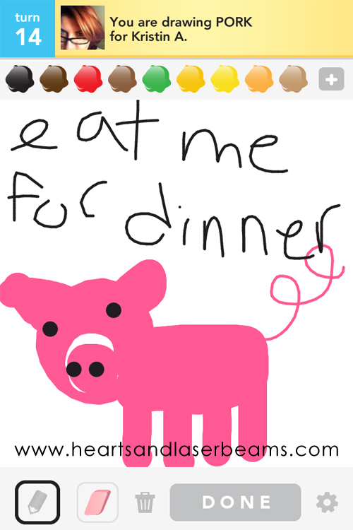 Draw Something pork by hearts and laserbeams