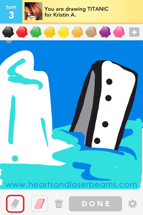 draw something titanic by hearts and laserbeams