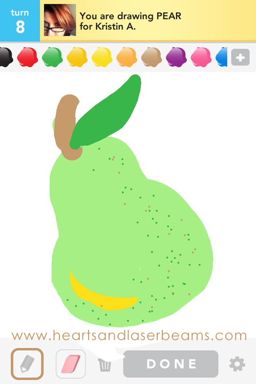 draw something pear by hearts and laserbeams