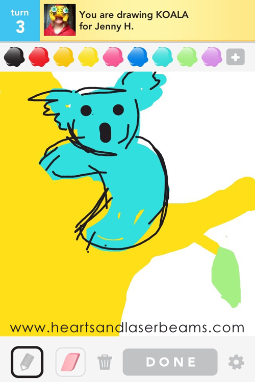 draw something koala by hearts and laserbeams