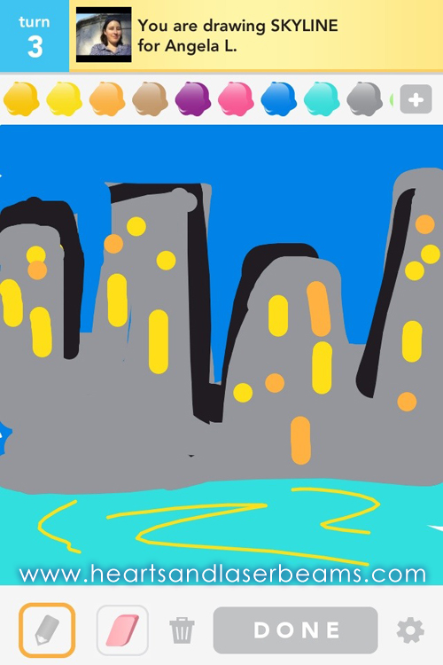draw something skyline by hearts and laserbeams