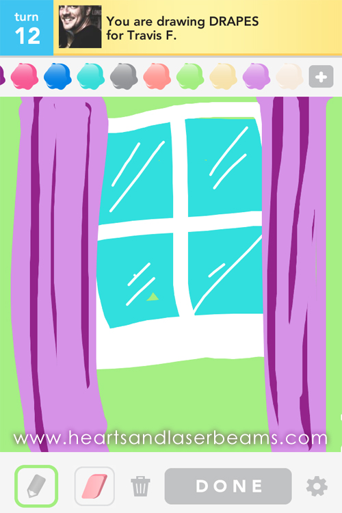 draw something drapes by hearts and laserbeams