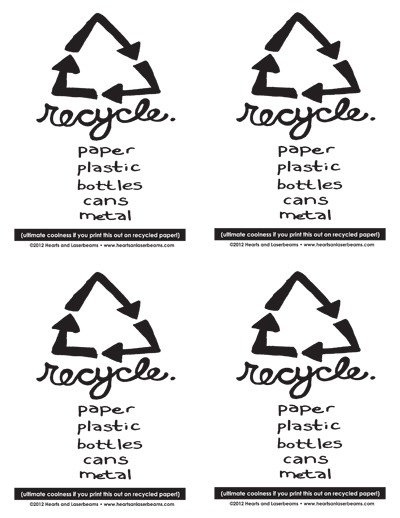 picture about Recycle Sign Printable titled No cost Printables: Sorting Rubbish Recycle Bin Signal