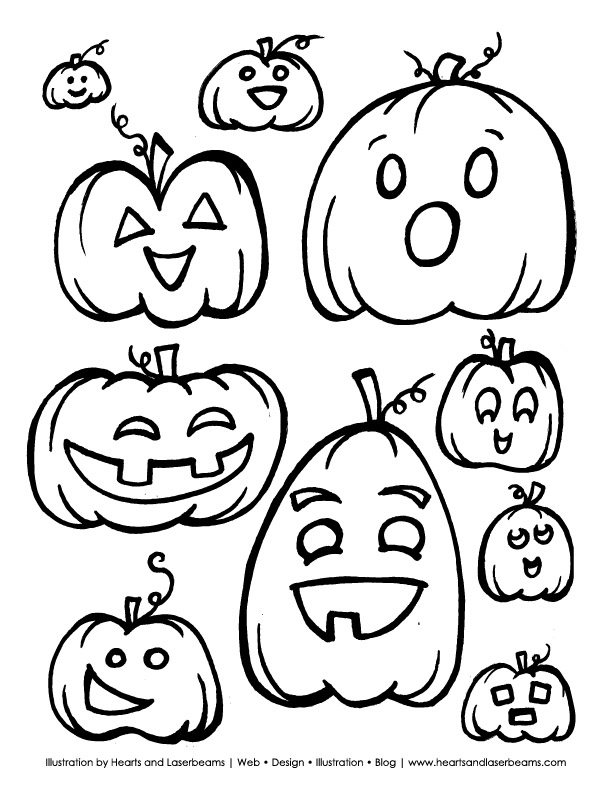 Free Halloween Printable Pumpkins and Jack o Lanterns from Hearts and Laserbeams